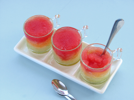 Triple Melon Sorbet with Watermelon, Cantaloupe and Honeydew