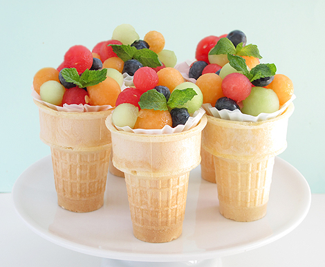 Fruit Salad Ice Cream Cones Bakers-Royale
