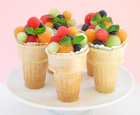 Fruit Salad Ice Cream Cones