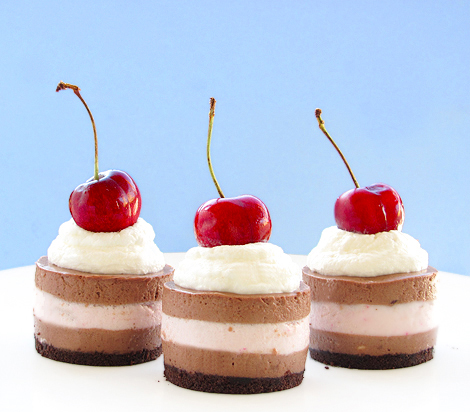 Mini Black Forest Cheesecakes