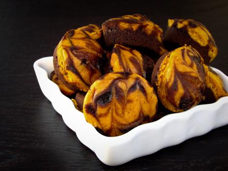 Pumpkin Swirl  Brownie Bites