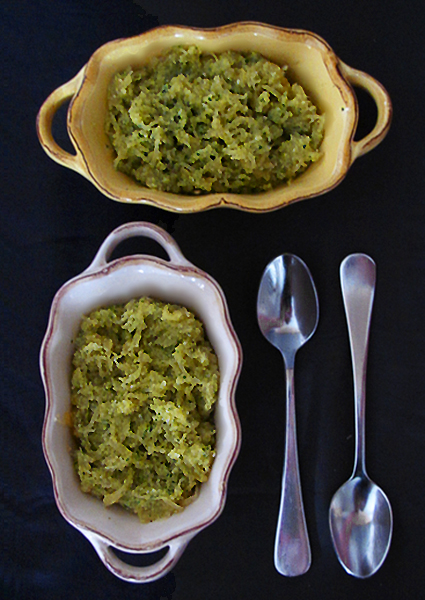 Spaghetti Squash with Arugula Walnut Pesto