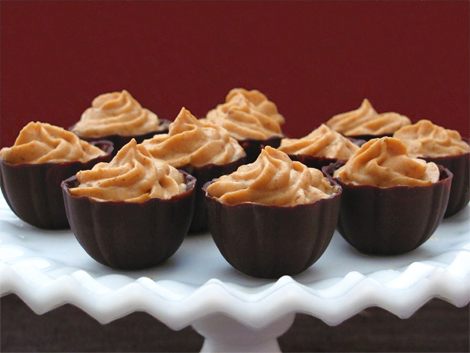 Homemade Chocolate Dessert Cups Filled with Mousse