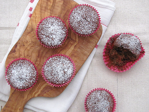 Coconut and Raspberry Chocolate Muffin