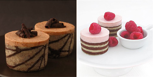 Pumpkin Caramel Mousse and Raspberry Mousse Cakes