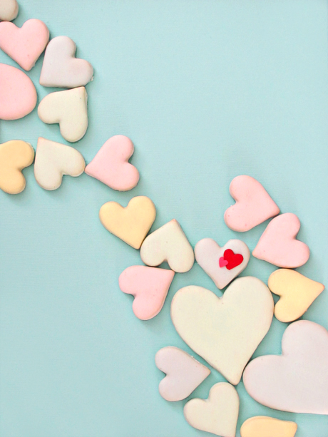 Valentine's Sugar Cookies with Poured Royal Icing