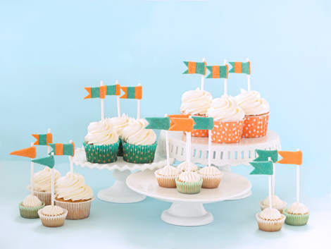 Vanilla Cupcakes with Homemade Sugar Cookie Flags