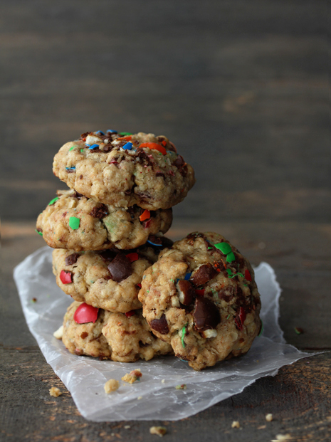 M&M Pretzel Oatmeal Cookies