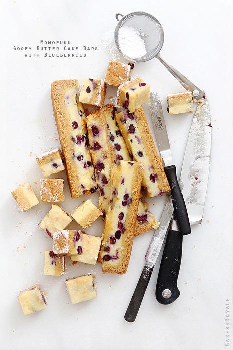 Momofuku Ooey Gooey Butter Cake Bars with Blueberries