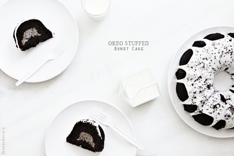 Oreo Stuffed Bundt Cake via Bakers Royale31