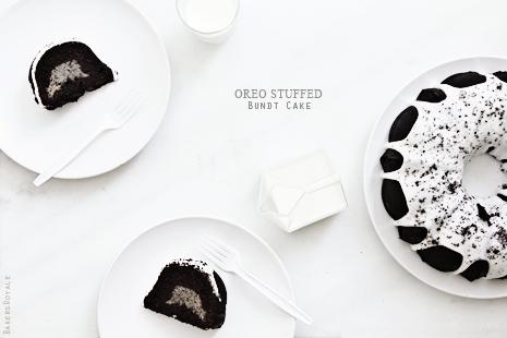 Oreo Stuffed Bundt Cake via Bakers Royale31