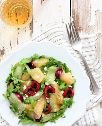 Shaved Melon Cherry Arugula Salad by Bakers Royale 210x260