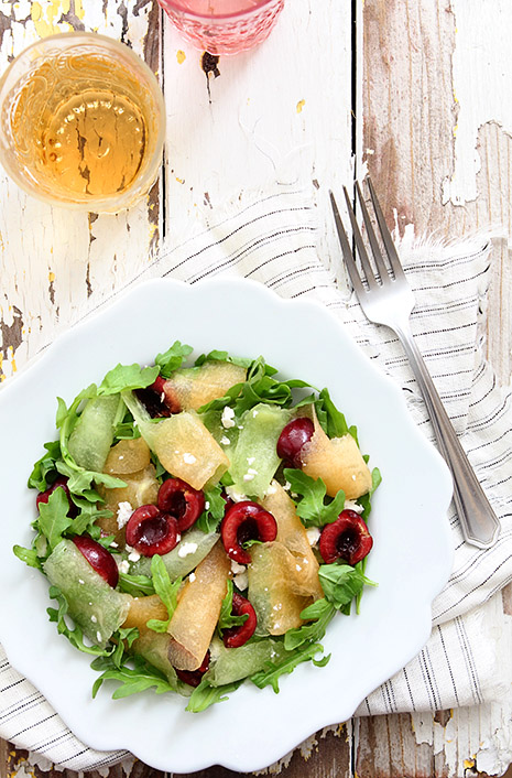 Shaved Melon Cherry Arugula Salad by Bakers Royale1