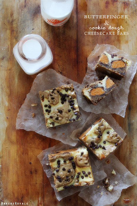 Butterfinger Cookie Dough Cheesecake Bars from Bakers Royale