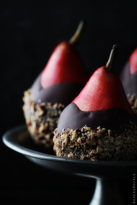 Chocolate Dipped Pears with Almond Crunch from Bakers Royale