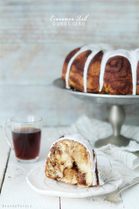 Cinnamon Roll Bundt Cake via BakersRoyale1