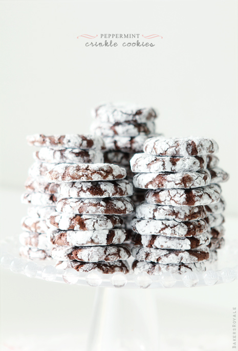 Peppermint Crinkle Cookies via BakersRoyale1