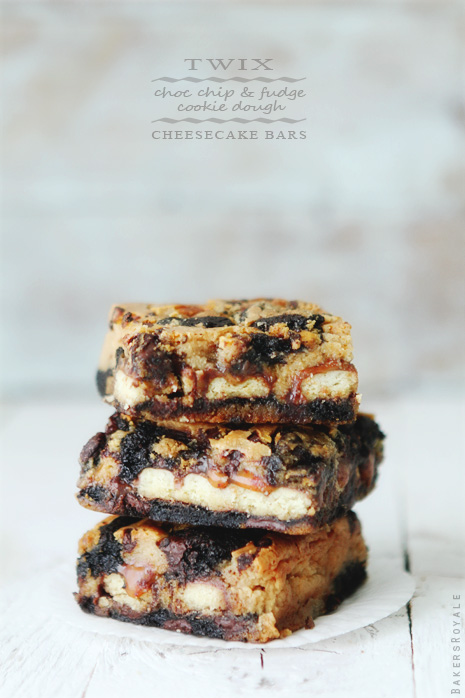 Twix + Choc Chip Fudge Cookie Dough + Cheesecake Bars from Bakers Royale1