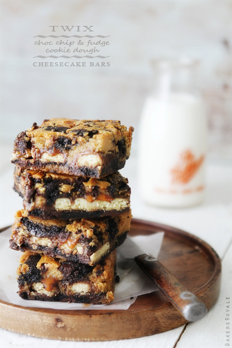 Twix Chocolate Chip & Fudge Cookie Dough Cheesecake Bars