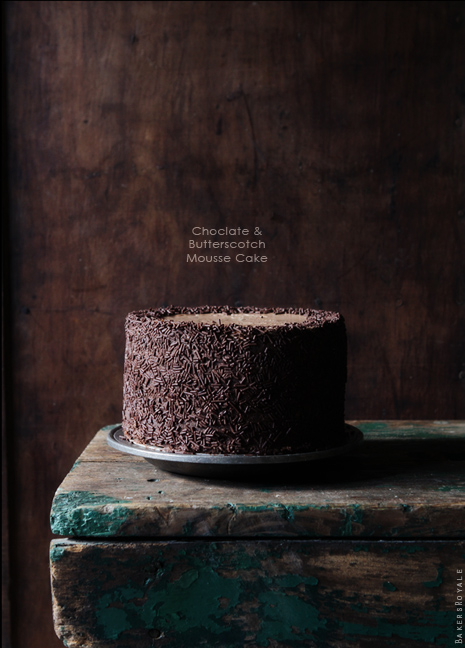 Chocolate Butterscotch Mousse Cake via Bakers Royale1