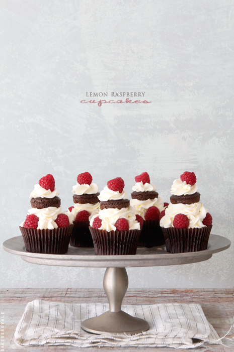 Lemon Raspbeerry Chocolate Cupcakes via Bakers Royale2