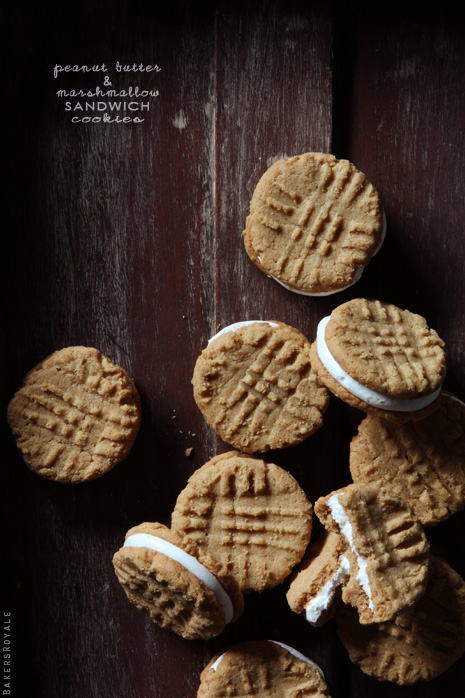 Peanut Butter Marshmallow Sandwich Cookies via Bakers Royale1