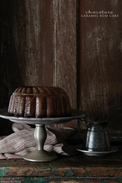 Chocolate Caramel Rum Cake via Bakers Royale