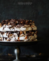 Snickers and Brownie Pavlova via Bakers Royale 210x260