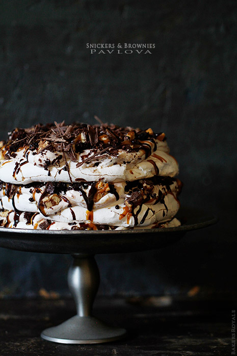 Snickers and Brownie Pavlova via Bakers Royale
