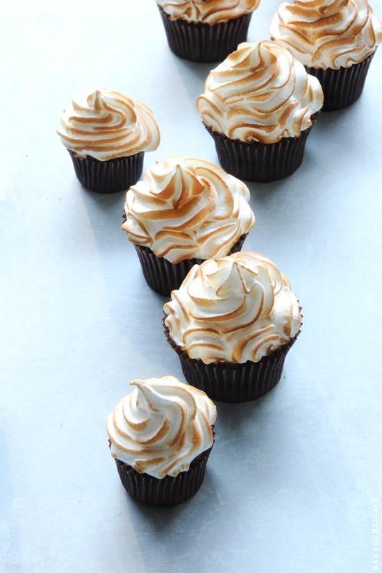 Banana Cupcakes with Bourbon Butterscotch Filling and Toasted Marshmallow Frosting by Bakers Royale