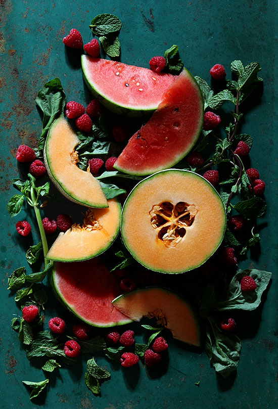 Cantaloupe and Watermelon Berry Sorbet-Ingredients via Bakers Royale