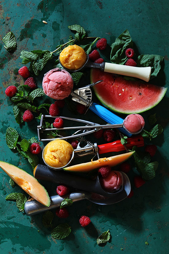 Cantaloupe and Watermelon Berry Sorbet by bakers royale