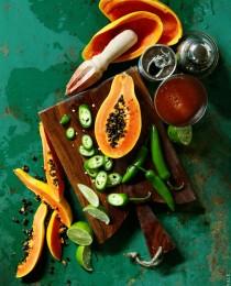 Papaya and Serrano Sling Raw Ingredients via Bakers-Royale