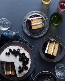 Black Tea Cake with Blackberry Lime Jam and Honey Whipped Cream via Bakers Royale 210x260