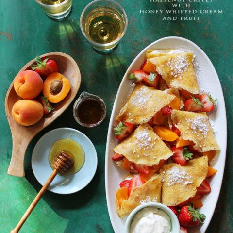 Hazelnut Crepes with Honey Whipped Cream and Fruit