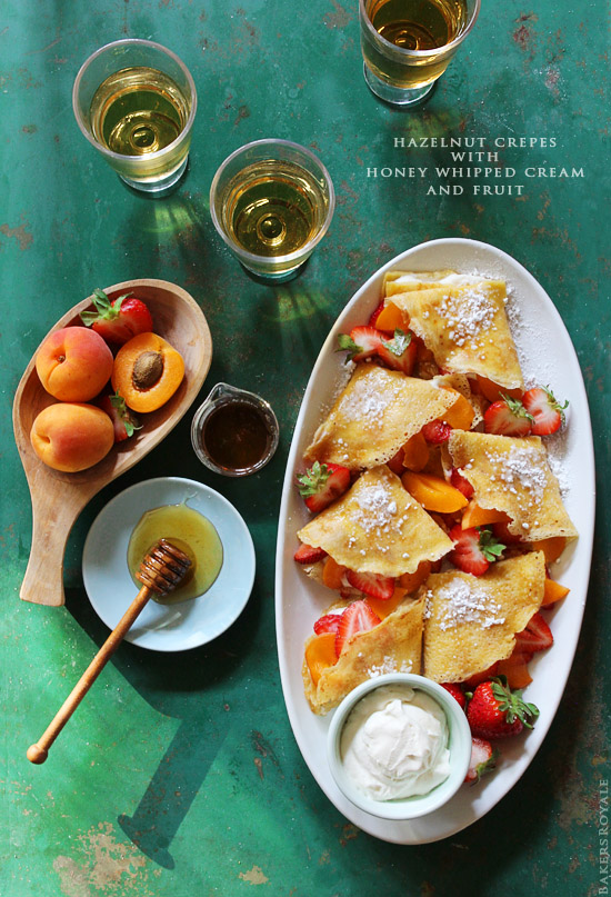 Hazelnut Crepes with Honey Whipped Cream and Fruit via BakersRoyale