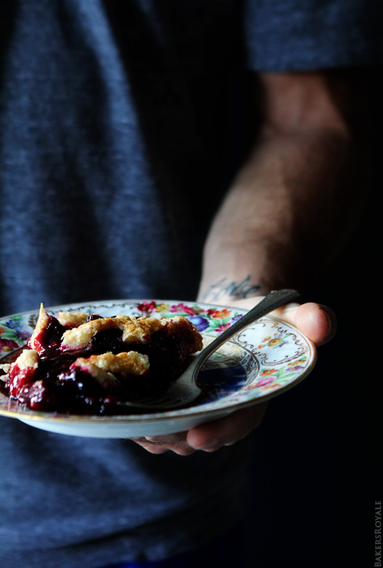 Blackberry Lime Pie Serving via BakersRoyale