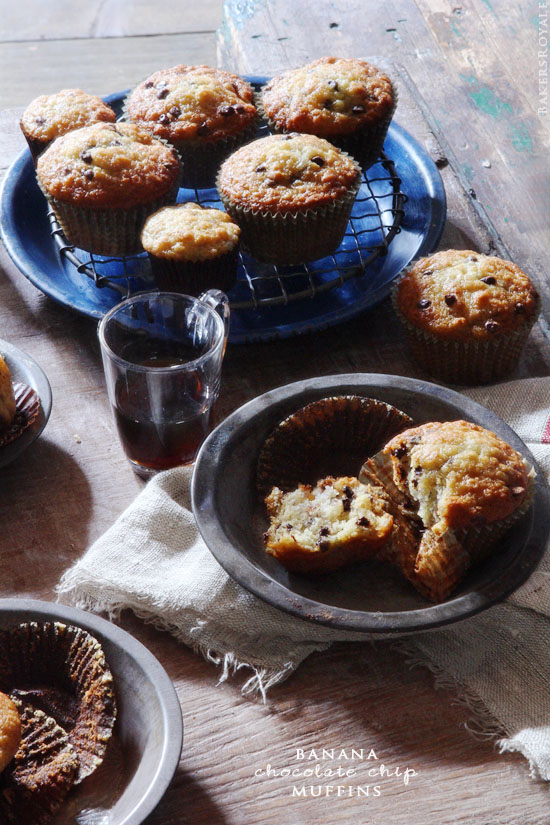 Chocolate Chip Banana Muffins from Bakers Royale