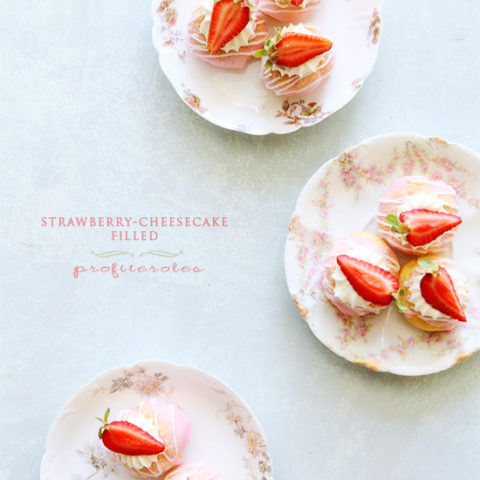 Strawberry-Cheesecake Filled Profiterole