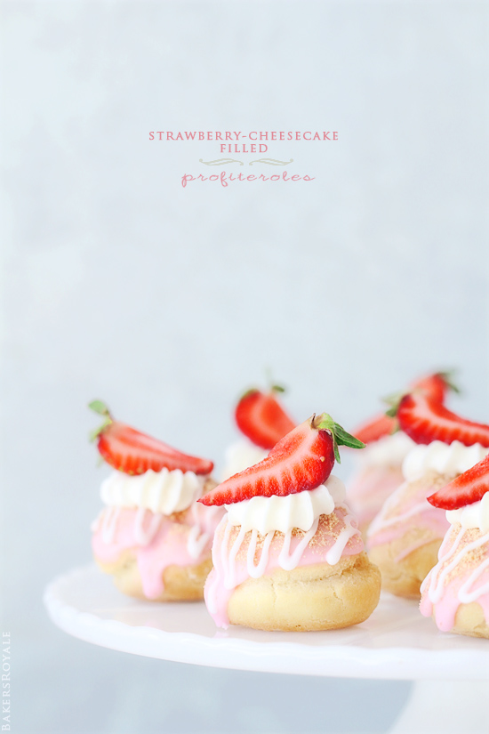 Strawberry-Cheesecake Filled Profiteroles via BakersRoyale