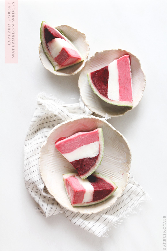 Layered Sorbet Watermelon Wedges via Bakers Royale
