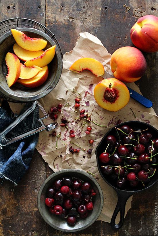 Peach & Cherry Upside-Down Cake Ingredients via Bakers Royale
