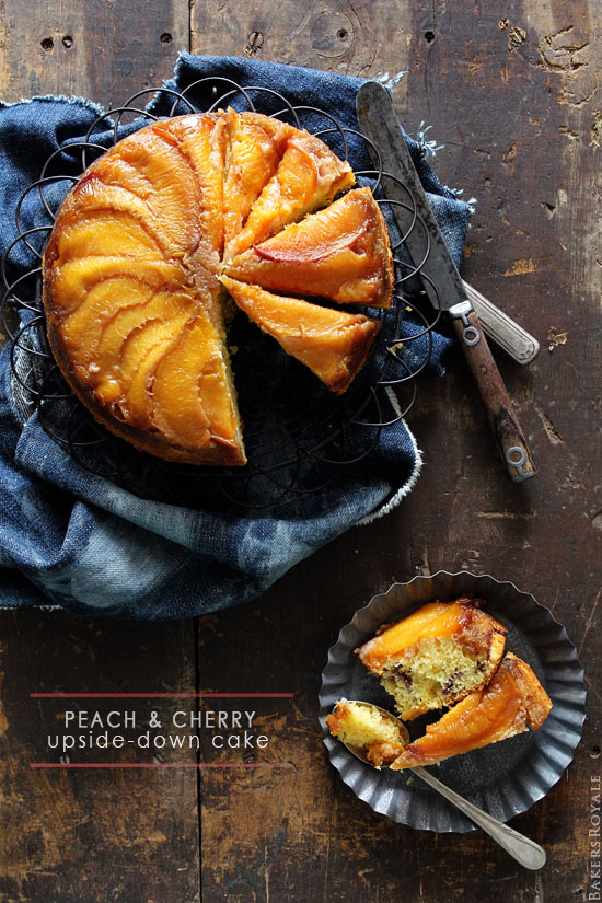 Peach cherry upside down cake from bakersroyale