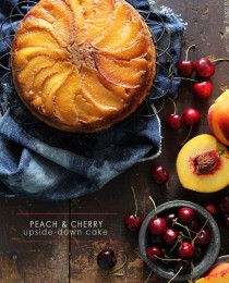 Peach & Cherry Upside-Down Cake via BakersRoyale