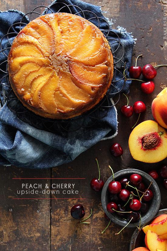 Peach & Cherry Upside-Down Cake via BakersRoyale