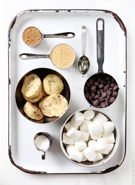Smores Cinnamon Roll Cake Ingredients via BakersRoyale