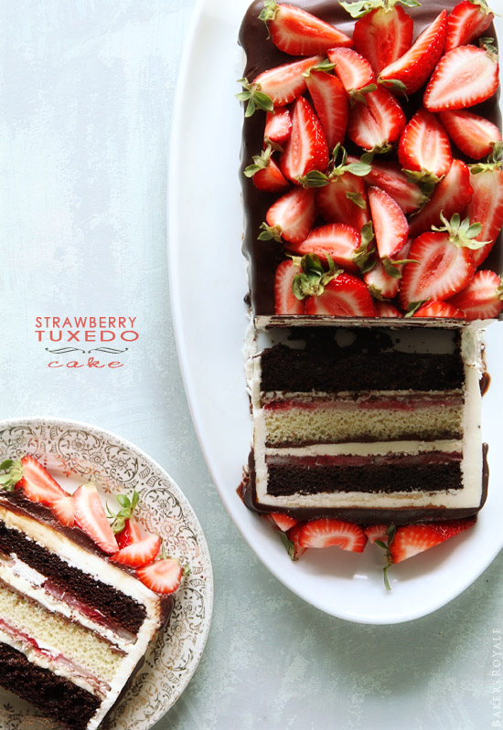 Strawberry Tuxedo Cake from BakersRoyale