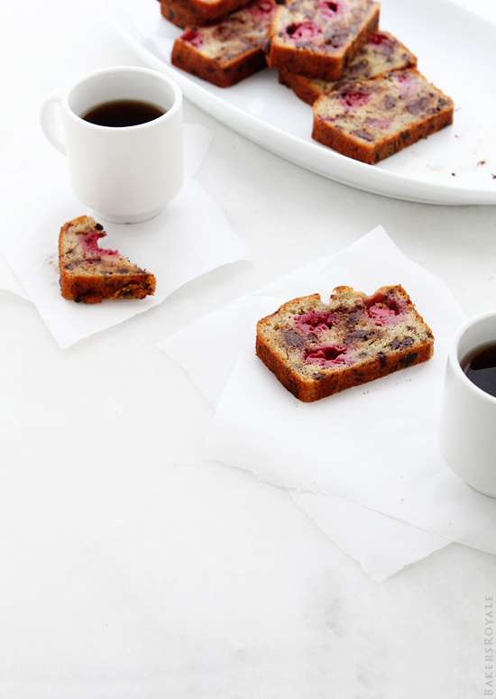 Chocolate Chip Banana Bread with Raspberries_ BakersRoyale