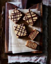 Peanut Butter Banana Bread Pudding Cake via BakersRoyale 210x260