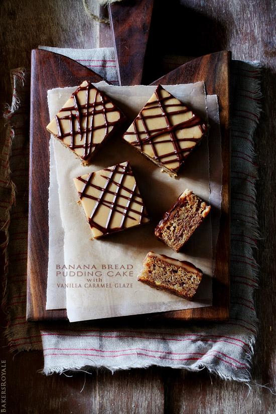 Peanut Butter Banana Bread Pudding Cake via BakersRoyale